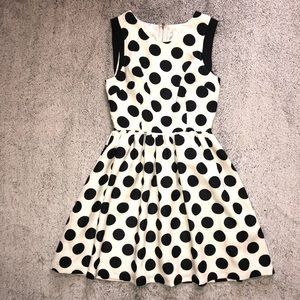 Black and white polka dot dress size small by Ina